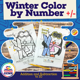 Winter Color by Number Addition and Subtraction to 10 Winter Edition