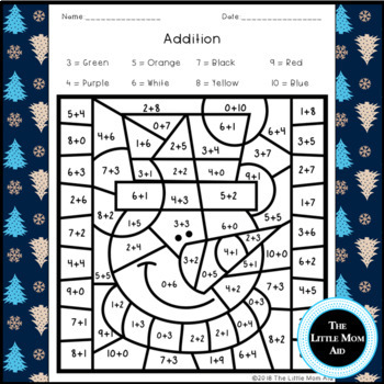 Winter Color by Number Addition and Subtraction Within 10