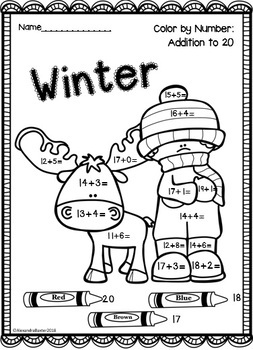 Winter Color by Number: Addition (to 5, 10, 20 & 100)!