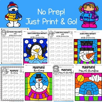 5th Grade Math Worksheets: Winter Color by Number Bundle