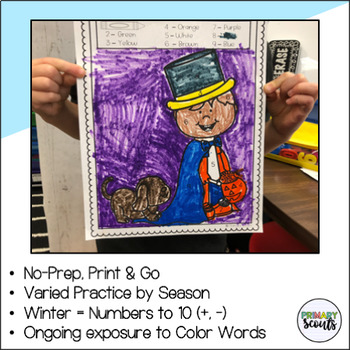 Winter: Color by Number, NO PREP- Math Fluency Center
