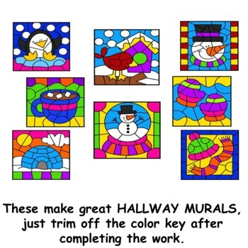 Color by Number Winter addition subtraction multiplication division BUNDLE