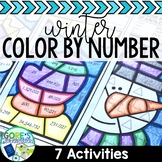 Winter Color by Number Math Worksheets - Variety of Skills