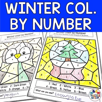 Winter Color by Number | Math Worksheets