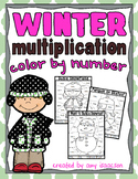 Winter Multiplication Color by Number