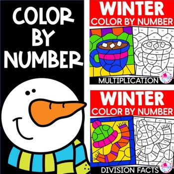Winter Color by Number Multiplication Division Mystery Coloring Pictures BUNDLE
