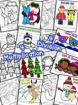 Color by Number Multiplication and Division Facts 0-12 Winter Edition