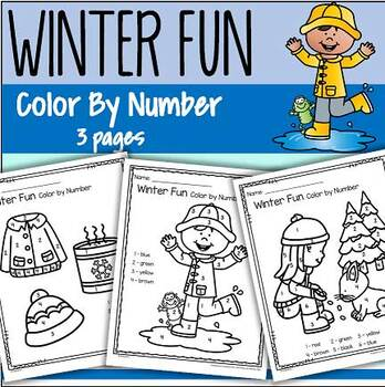 Winter Color by Number Printables - 3 pages