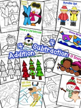 Color by Number Two Digit Addition and Subtraction to 100 Winter Edition