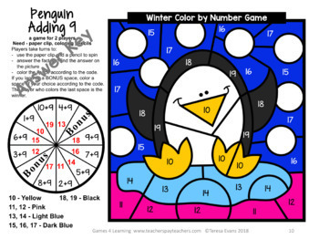 Winter Color by Number: Winter Addition and Subtraction Games