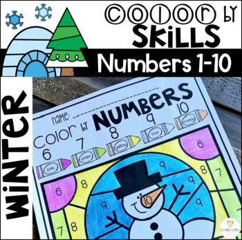 Winter Color by Code Numbers 1-10 Activities