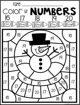 Winter Color by Numbers 11-20 Activities