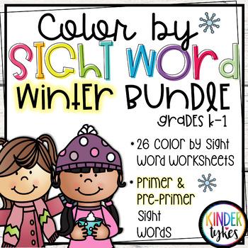 Winter Color by Sight Word Bundle (Pre-primer & Primer)