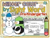 Winter Color by Sight Word Pre-Kindergarten