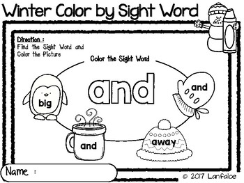 Winter Color by Sight Word Pre-Kindergarten