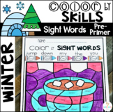 Winter Color by Sight Words Pre-Primer Sight Word Activities
