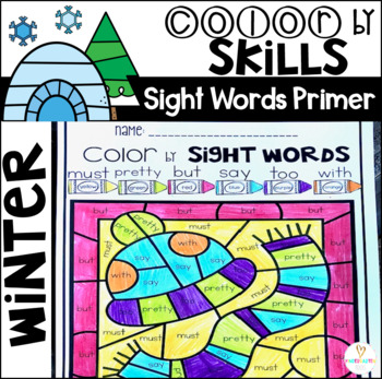 Winter Color by Sight Words Primer Sight Word Activities