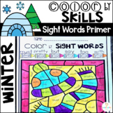 Winter Color by Code Sight Words Primer Sight Word Activities