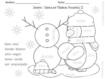 Winter Color by Sight Words (Spanish)