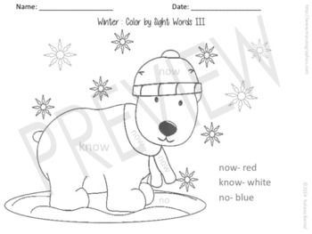 Winter Color by Sight Words (Spanish & English)