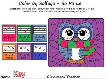 Winter Color by Solfege - So, La & Mi Practice