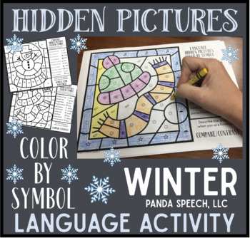 Winter Color by Symbol Hidden Images Language: Speech Therapy Activity