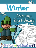 Winter Color-by-Vowels (Short) 4 Total, Short Vowel Reading Activity