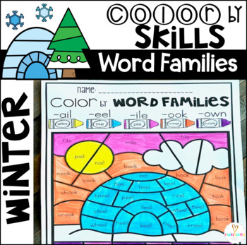 Winter Color by Code Word Families Printables