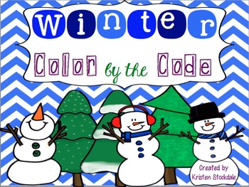 Winter Color by the Code for Math- no prep!