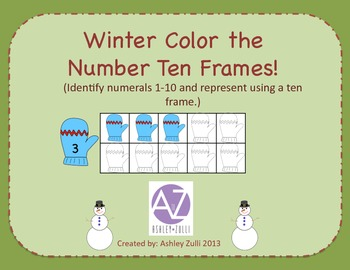 Winter Color the Numbers Ten Frame Freebie