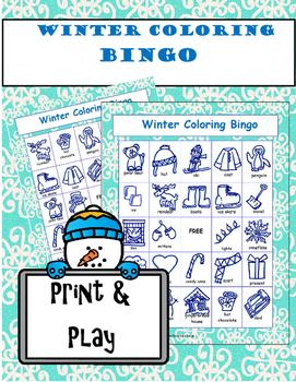 Winter Coloring Bingo Game
