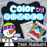 Winter Coloring | Color by Teen Number Winter | Teen Numbe