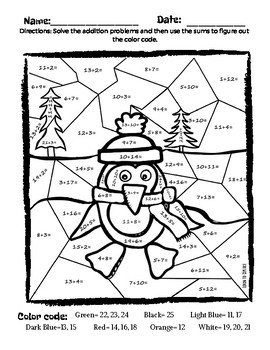 Winter Addition Coloring Page