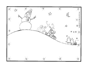 Winter Coloring Page, Sledding