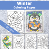 Winter Coloring Pages: Penguin, Snowman, Reindeer, Mittens