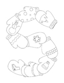 Winter Coloring Pages pdf Snowflake Mittens Ski Set of Four Banner
