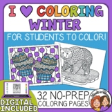 Winter Coloring Pages for Big Kids - Mittens, Penguins, Sn