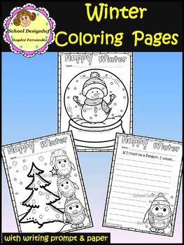 Winter Coloring Pages & Writing Prompts / Paper(School Designhcf)