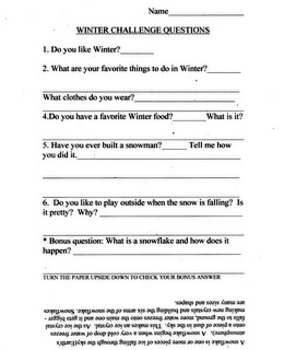 Winter Coloring Sheets with Language Arts Follow-up
