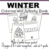 Winter Coloring and Activity Book - Make a Winter Scene Color Cut and Paste