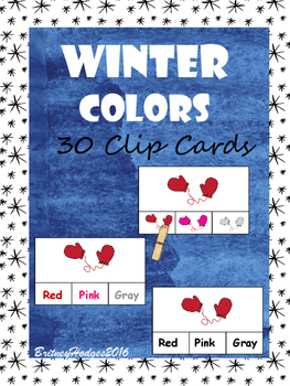Winter Colors Clip Cards: 3 Levels! 10 Colors!