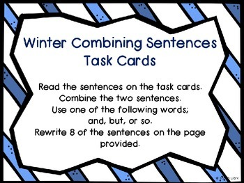 Winter Combining Sentences Task Cards