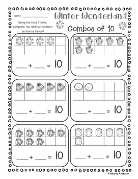 Winter Combos of 10's - Tens Frame / Basic Facts of 10 Practice
