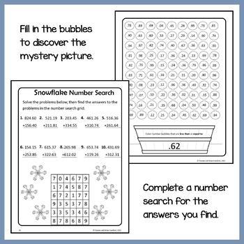 Winter Math Puzzles - 5th Grade Common Core
