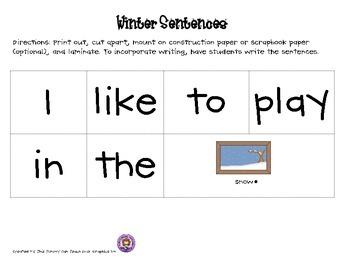 Winter Common Core Sentences