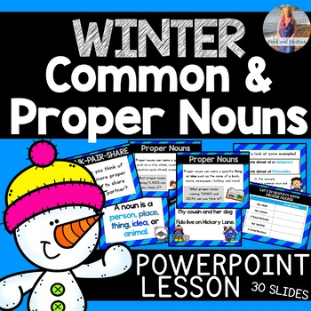 Winter Common and Proper Nouns PowerPoint Lesson