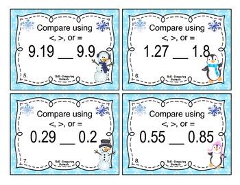 Winter Comparing Decimals Task Cards