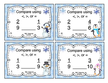 Winter Comparing Fractions Task Cards
