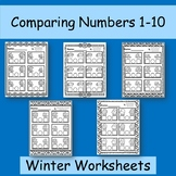 Winter Comparing Numbers 1-10 Worksheets