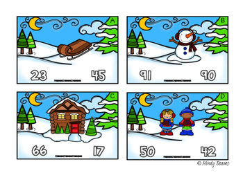Comparing Numbers Scoot Freebie - Winter Themed